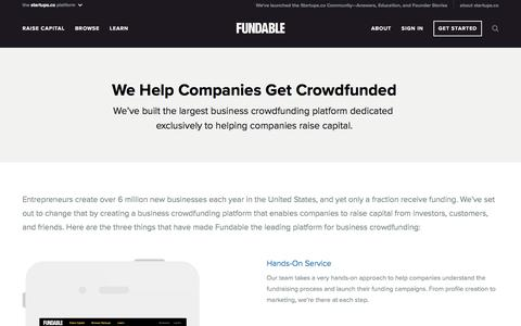 Screenshot of About Page fundable.com - Fundable | Crowdfunding for Small Businesses - captured Sept. 29, 2016