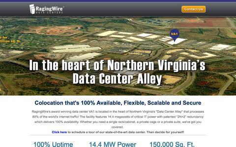 Screenshot of Landing Page ragingwire.com - RagingWire Data Centers | Ashburn, Virginia - captured Oct. 27, 2014