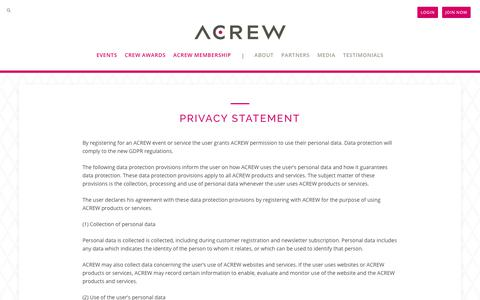 Screenshot of Terms Page acrew.com - Privacy Statement - ACREW - captured July 28, 2018