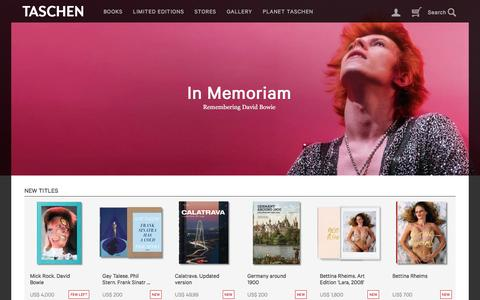Screenshot of Home Page taschen.com - TASCHEN Books: Publisher of books on art, architecture, design and photography - captured Jan. 14, 2016