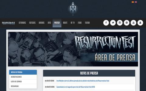 Screenshot of Press Page resurrectionfest.es - Prensa   Resurrection Fest - captured Nov. 20, 2016