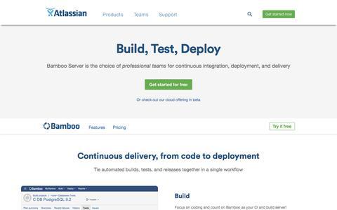 Screenshot of atlassian.com - Bamboo - Continuous integration, deployment & release management | Atlassian - captured July 30, 2016
