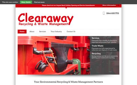 Screenshot of Home Page clearaway.uk.com - Clearaway | Your Environmental Recycling & Waste Management  Partners Since 1984 - captured Oct. 2, 2014
