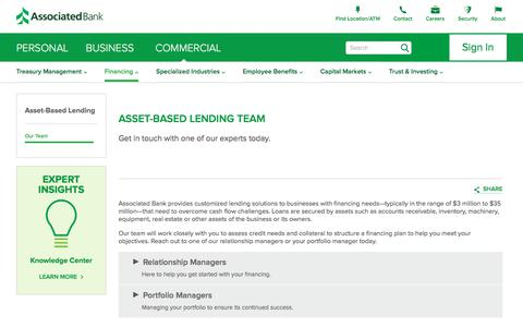 Screenshot of Team Page associatedbank.com - Asset-Based Lending Team | Associated Bank - captured July 21, 2019