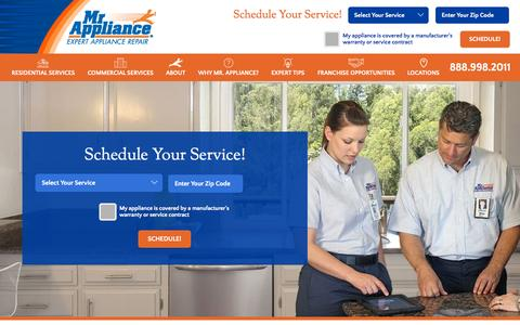 Screenshot of Home Page mrappliance.com - Mr. Appliance | Expert Appliance Repair - captured Oct. 2, 2015