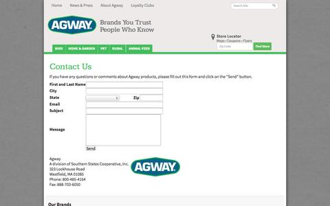 Screenshot of Contact Page agway.com - Contact Us |  Agway - Lawn, Garden, Pet, Bird and Farm Specialists - captured Sept. 19, 2014