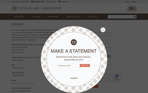 Screenshot of Contact Page signaturehardware.com - Contact Us - captured Dec. 29, 2017