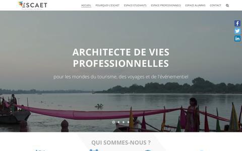 Screenshot of Home Page escaet.fr - ESCAET⎮École Supérieure de Commerce - Travel⎮BAC+3 à +5 - captured Nov. 4, 2018