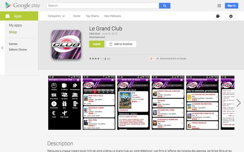 Screenshot of Android App Page google.com - Le Grand Club - Android Apps on Google Play - captured Nov. 4, 2014