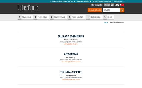 Screenshot of Team Page cybertouch.com - Contact CyberTouch - captured July 13, 2018