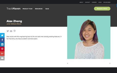 Screenshot of Team Page trackmaven.com - Alex Zhang – TrackMaven - captured Oct. 12, 2016