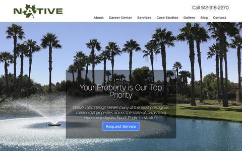 Screenshot of Home Page nativelanddesign.com - Commercial Landscaping in Austin and Houston | Native Land Design - captured Nov. 15, 2017