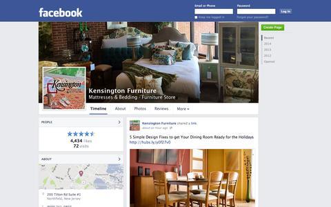 Screenshot of Facebook Page facebook.com - Kensington Furniture - Northfield, New Jersey - Mattresses & Bedding, Furniture Store | Facebook - captured Oct. 23, 2014