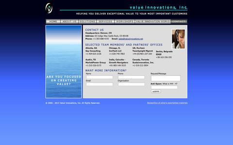 Screenshot of Contact Page valueinnovations.com - v a l u ei n n o v a t i o n s, i n c. - contact us - captured Oct. 7, 2014