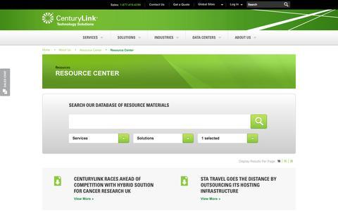 Screenshot of Case Studies Page centurylinktechnology.com - Resource Center | CenturyLink Technology Solutions - captured Sept. 16, 2014