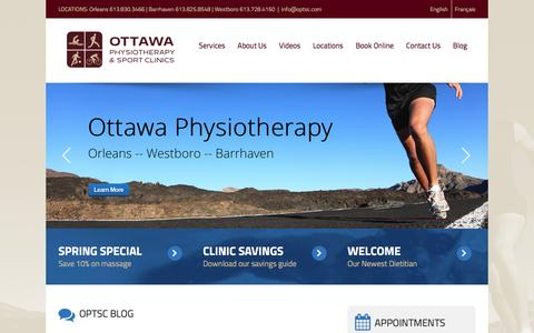 Screenshot of Home Page optsc.com - Ottawa Physiotherapy & Sport Clinics - captured Feb. 15, 2016