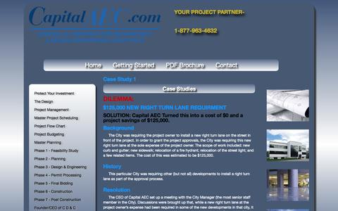 Screenshot of Case Studies Page capitalaec.com - Capital Design and Construction - captured Oct. 2, 2014