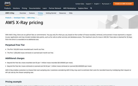 Screenshot of Pricing Page amazon.com - AWS X-Ray Pricing - captured May 8, 2019