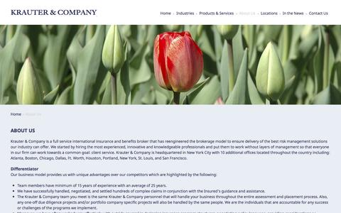 Screenshot of About Page krautergroup.com - About us - Krauter Group - captured Oct. 6, 2014