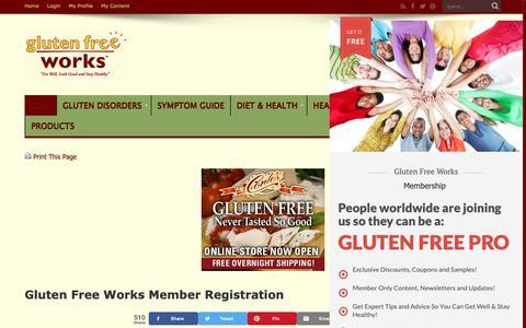 Screenshot of Signup Page glutenfreeworks.com - Gluten Free Works Member Registration | Gluten Free Works - captured Sept. 29, 2018