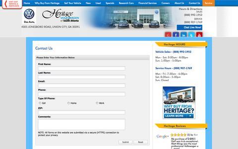 Screenshot of Contact Page atlantavolkswagen.com - Contact Heritage Volkswagen of South Atlanta | New & Used Car Dealer - captured Oct. 3, 2014