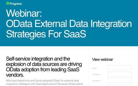 Screenshot of Landing Page progress.com - Webinar: OData External Data Integration Strategies For SaaS - captured July 17, 2019