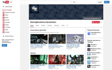 Screenshot of YouTube Page youtube.com - GamingExcellence Syndication  - YouTube - captured Oct. 28, 2014