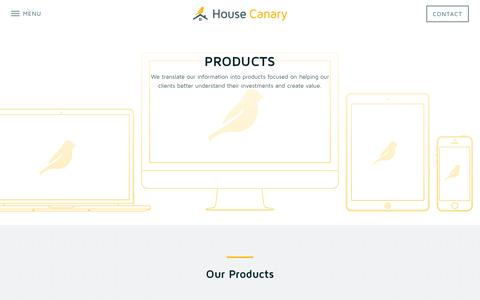 Screenshot of Products Page housecanary.com - HouseCanary | Products - captured Nov. 2, 2014