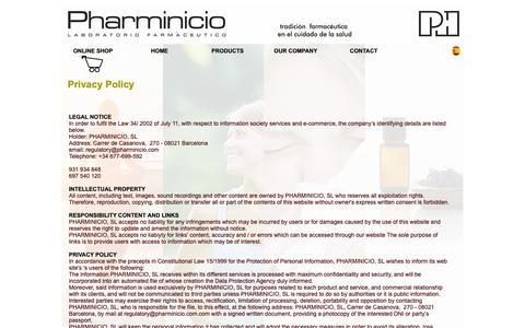 Screenshot of Privacy Page pharminicio.com - Pharminicio, S.L. - Pharmaceutical company. Contact - captured Sept. 28, 2018