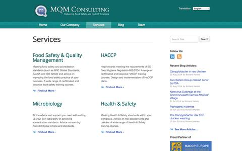 Screenshot of Services Page mqmconsulting.co.uk - Services | MQM Consulting - captured Oct. 27, 2014