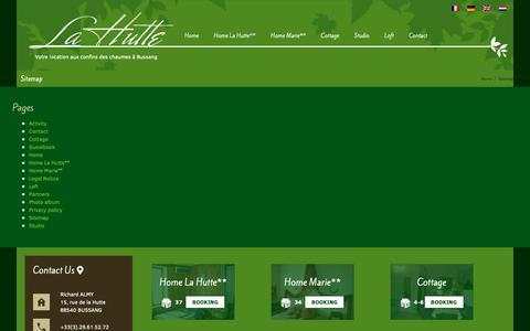 Screenshot of Site Map Page la-hutte.com - Sitemap - La hutte - Locations de Gîte et Chalet dans les Vosges - captured Oct. 29, 2018