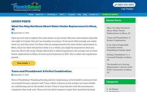 Screenshot of Blog itsjustplumbsmart.com - Blog | PlumbSmart Plumbing Heating and Air - captured Sept. 28, 2018