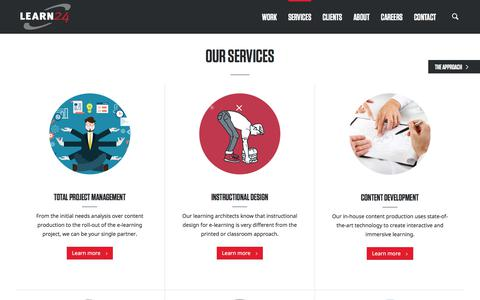 Screenshot of Services Page learn24.com - LEARN24 - Services - captured Sept. 25, 2018