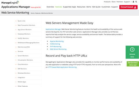 Web Service Monitoring, Apache monitoring, IIS monitoring, PHP monitoring, Web Server Monitoring