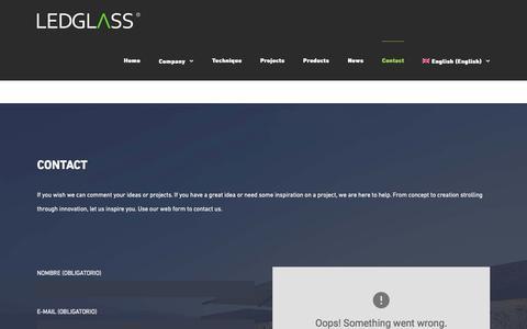 Screenshot of Contact Page ledglass.es - Contact - Ledglass - captured May 16, 2017