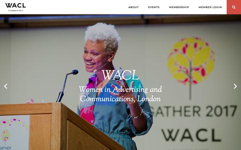Screenshot of Home Page wacl.info - WACL | Women in Advertising and Communications, London - captured Oct. 20, 2018