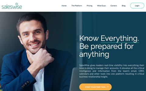 Screenshot of Home Page saleswise.com - SalesWise - captured March 21, 2017
