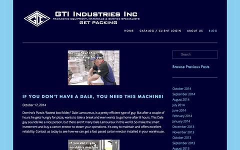 Screenshot of Blog gtiindustries.com - Blog — GTI Industries Inc - captured Oct. 22, 2014