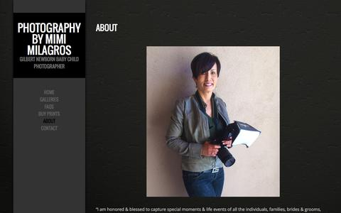 Screenshot of About Page photographybymimi.com - ABOUT - captured Dec. 9, 2015