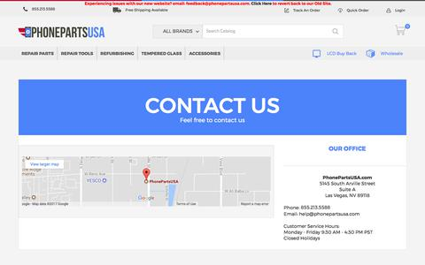 Screenshot of Support Page phonepartsusa.com - Contact Us - captured Nov. 1, 2017