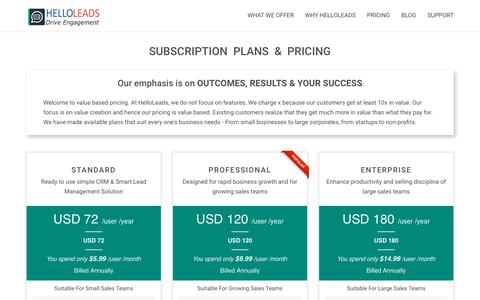 Screenshot of Pricing Page helloleads.io - Pricing   HelloLeads - captured July 10, 2018