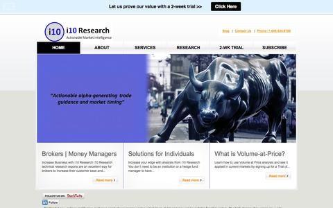 Screenshot of Home Page Blog i10research.com - i10 Research | Actionable Market Intelligence - captured Sept. 30, 2014