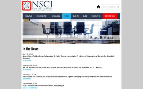 Screenshot of Press Page neuralsci.org - Newsroom - Neural Stem Cell Institute, Rensselaer NY - captured Oct. 7, 2014