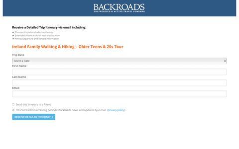 Screenshot of Landing Page backroads.com - MyBackroads - Detailed Itinerary - captured Sept. 23, 2017