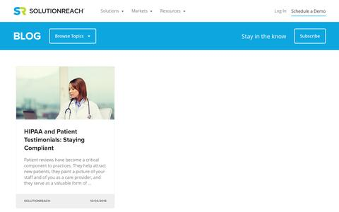 Screenshot of Testimonials Page solutionreach.com - Patient Engagement Blog for Medical Providers | Solutionreach | Testimonials - captured Feb. 11, 2017