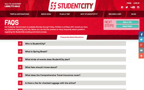 Screenshot of FAQ Page studentcity.com - Frequently Asked Questions | StudentCity - captured Sept. 22, 2014