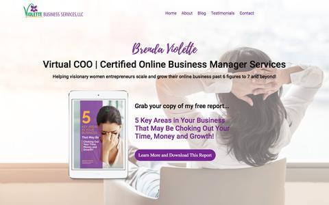 Screenshot of Home Page violettebusinessservices.com - Virtual COO | Certified Online Business Manager | Brenda Violette - captured July 29, 2019