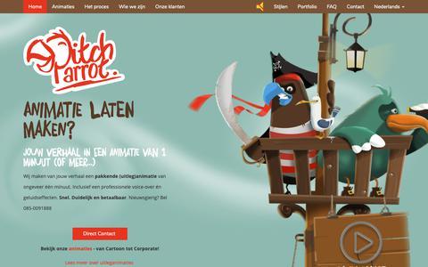 Screenshot of Home Page pitchparrot.com - Animatie laten maken? Snel. Duidelijk. Betaalbaar. Bel: 085-0091888 - PitchParrot - captured Nov. 4, 2018