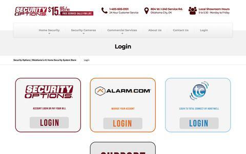 Screenshot of Login Page securityoptions.com - Login - Security Options | Oklahoma's #1 Home Security System Store - captured July 18, 2018