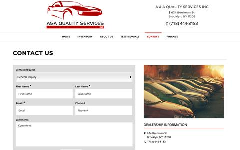 Screenshot of Contact Page aaqualitycars.com - Contact A & A QUALITY SERVICES INC Dealership BROOKLYN, NY 11208 - captured Sept. 30, 2018